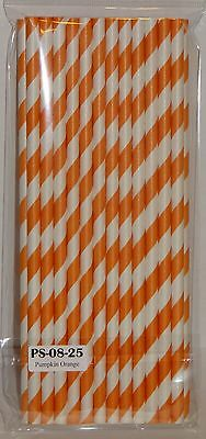 Orange Striped Paper Straws - Cake Pop Sticks, Wedding Birthday Shower Halloween