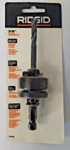 "Ridgid 7036 3/8"" Hole Saw Mandrel Pin Drive Positive Lock Hex Shank"