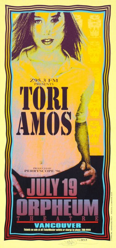Tori Amos Original Silkscreen Poster Vancouver 1996 Signed by Mark Arminski