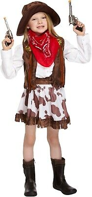 Girls Cow Girl Fancy Dress Up Costume Western Outfit Ages 4-12 yrs NEW (Cowgirl Dressing Up Outfits)
