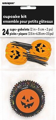 Halloween Kids Treats Baking Kit Pumpkin Cupcake Bun Cases & Decorating Picks