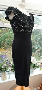 NEXT BLACK AND POLKA DOT FITTED ELASTICATED SMART SHIFT DRESS SIZE 6 BNWT