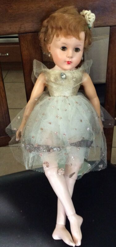 Vintage 1950s Hard Plastic Jointed Ballerina Doll With Dress