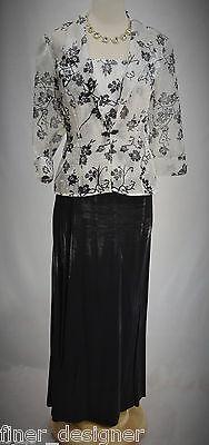 Alex Evenings Dress formal Mother the bride gown jacket floral black suit 6P