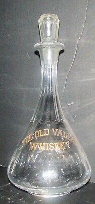 Vintage Original THE OLD VALLEY WHISKEY Back Bar Bottle Decanter w Stopper