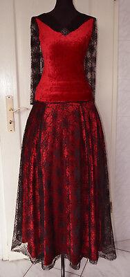 Damen Samt Shirt Rock Kleid Handschuhe rot schwarz S Gothic Halloween WGT