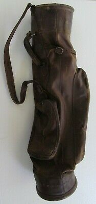 1940s Handbags and Purses History VINTAGE LEATHER GOLF BAG  1940's   6 1/2