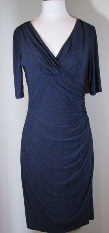RALPH LAUREN NAVY & BLACK MATTE JERSEY DRESS V-NECKLINE SIZE 10 - NWT
