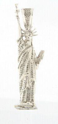 Statue of Liberty Fine Gold Diamond Pendant 1.85 TCW 14k White Gold 3