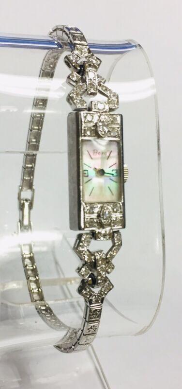 "Art Deco ""Bara"" Solid Platinum Diamond Ladies Watch 22.7 Grams, Size 7 1/2"