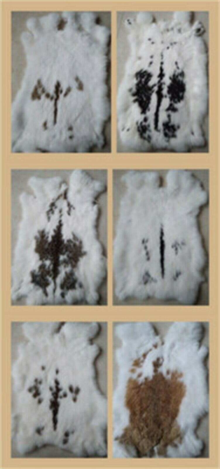 1X Spotted RABBIT FUR PELTS TANNED Gray CRAFTS Leather Fur EXCELLANT FOR SEWING - $4.99
