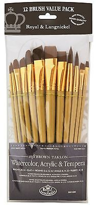 Taklon Set (Royal Langnickel Brown Taklon Variety Brush Set -(Pack of 12) RSET-9303)