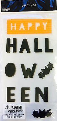 Happy Halloween Window Gel Stickers Cling Decor Spiders Teacher Supply (Halloween Decorated Windows)