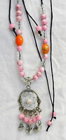 Dream Catcher Style Beaded Necklace - Pink - -  - ebay.co.uk