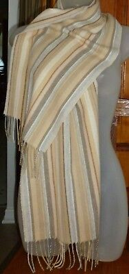 Striped Acrylic Fringe SCARF Beige shades, Gray, Taupe 60 X 11 made in Germany