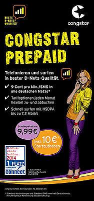 Congstar Prepaid Karte,10€ Startguthaben,D1 Netz,inkl. Micro Sim  IPhone 4S incl