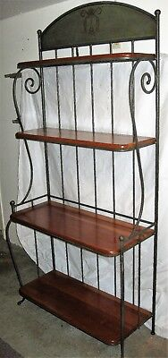 Charleston Forge BAKERS RACK - Solid Cherry Shelves & Forged Steel - Well - Cherry Kitchen Bakers Rack