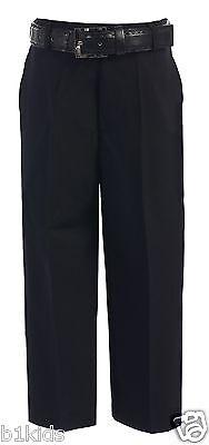 Dress Pants Flat Front With Belt Black White Navy Khaki Kids( 4-7 ) Boys ( 8-20)