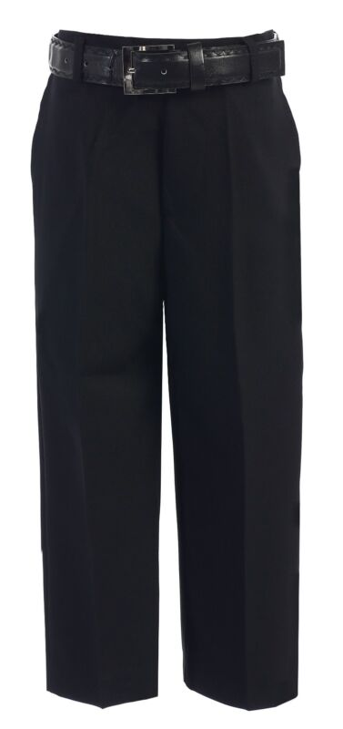 Boy Dress Pants Flat Front With Belt Black White Navy Khaki Toddler Size 2T -20