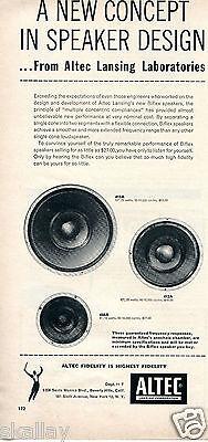 1956 Print Ad of Altec Lansing Corp Biflex Speakers Loudspeakers