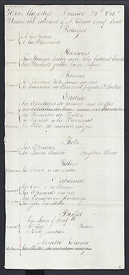 Rare Georgian Handwritten Royal Menu for King George IV Chef Armand Vilmet 1826