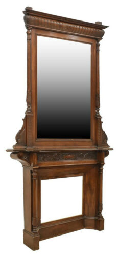 HANDSOME FRENCH LOUIS PHILIPPE FIREPLACE MANTLE & MIRROR, ANTIQUE!!