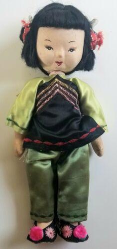 "Republic of China Made in Taiwan Folk Art Doll 11"" Vintage Cloth Silk"