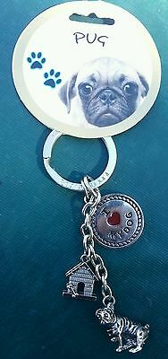 NEW Little Gifts Pug Dog Themed Key Chain I Love My Dog Dangle  ON SALE