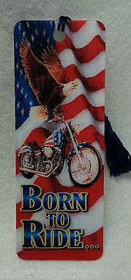 Born To Ride Biker Eagle 3d Bookmark Made In The Usa Lenticular Action Tassel