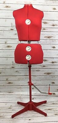 Singer 12 Dial Seamstress Mannequin Adjustable Professional Dressmaker Stand Red