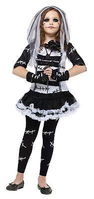 Mädchen Kind Deluxe Gothik Schwarz & Weiß Monster Braut Stiche Kostüm