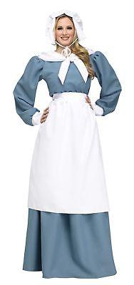 Pilgrim Lady Costume Prairie Pioneer Womens Thanksgiving  Litte House Blue Dress - Woman Pilgrim Costume