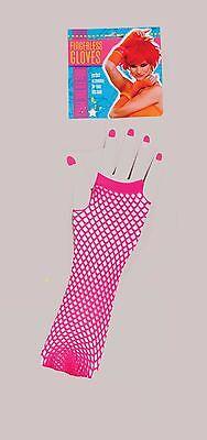 Fingerless Fishnet Gloves 80's Adult Costume Accessory, Pink (Pink Fishnet Gloves)