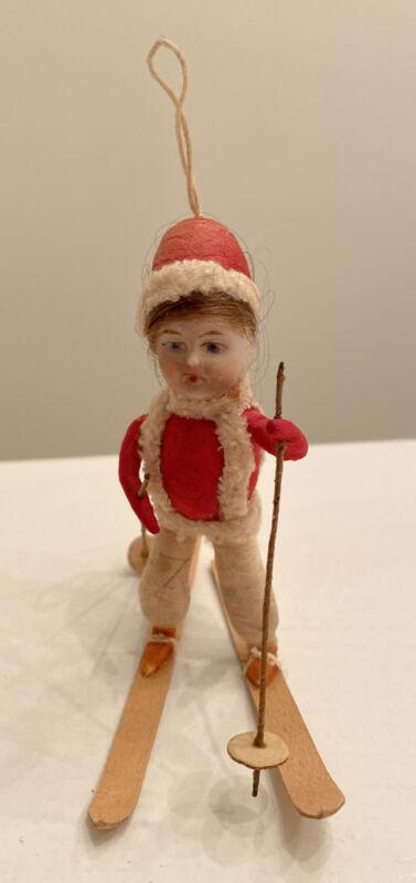 German Antique Christmas Ornament child cotton bisque red Skier