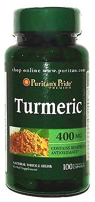 400 Mg Natural Turmeric Curcumin 100 Capsules Antioxidant Brain Health Root Pill