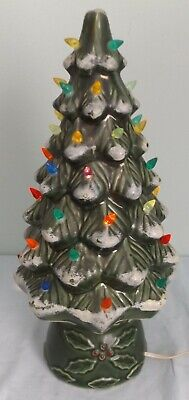 "VTG Ceramic Green Flocked Light Up Christmas Tree Multicolor Light Table Top 17"""