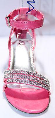 Girls Strappy Rhinestones Heels Pageant Youth Sz 9--4, Wedding Shoes, Dressy](Girls Dressy Shoes)