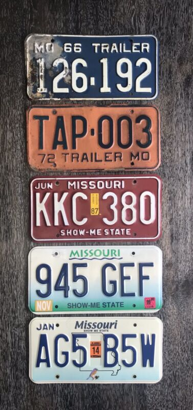 Lot of 5 Missouri License Plates From 5 Decades: 60s 70s 80s 90s 2000s