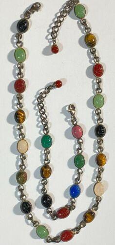 Sterling Silver Antique Egyptian Revival Gemstone Scarab Necklace Bracelet #A100