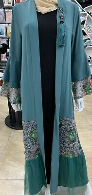 Turkish Muslim Women Open Cardigan Kaftan Jilbab Maxi Dress Abaya Long Sleeve