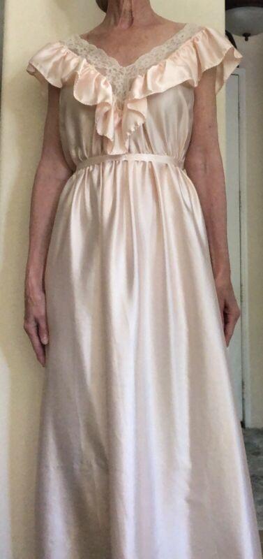 Vintage Elise Stevens Peach/pink Satin Gown, Sz L