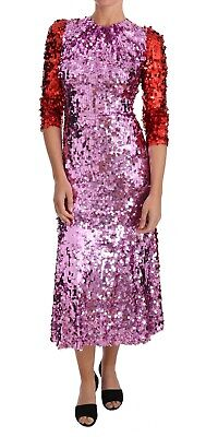 DOLCE & GABBANA Dress Pink Red Sequined Sheath Gown Flare IT40 /US6 /S RRP $4000