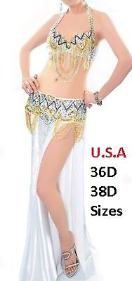 Belly Dance Costume 2pc Set USA  Fast Shipping  (FREE GIFT) PLUS SIZE HALLOWEEN