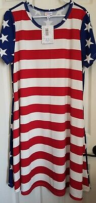 LuLaRoe Stars & Stripes XL Jessie Pocket Dress American Summer 2019 UNICORN!