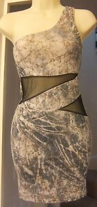 NEW TINK & FUNK BEIGE STRETCHY ONE SHOULDER DRESS Size S