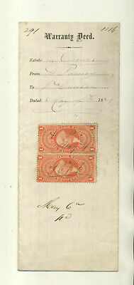 1871 LEGAL DOCUMENT THAT HAS TWO $1 ENTRY OF GOODS REVENUE STAMPS