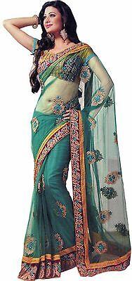 Teal Saree (Embroidered Teal Trendy Saree Party Designer Net Elegant Wedding Sari Dress)