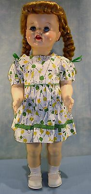 "Vintage Ideal Saucy Walker Doll 22"", Green and Yellow Dress"