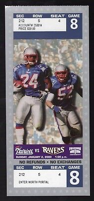 Jan 2, 2000 New England Patriots & Baltimore Ravens Full Ticket 20-3 Pats