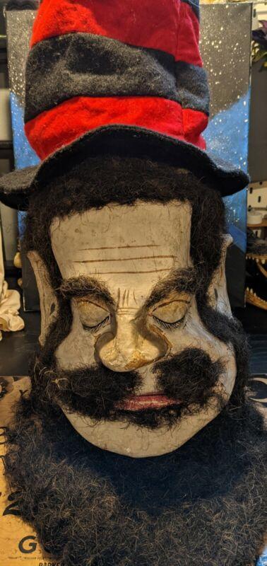 RARE ODD FELLOWS RITUAL GOLIATH HEAD! 1880s HUGE RARE ODDITIES  PAPER-MACHE MASK